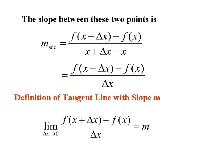 The slope between these two points is Definition of Tangent Line with Slope m