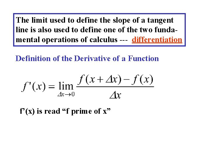The limit used to define the slope of a tangent line is also used