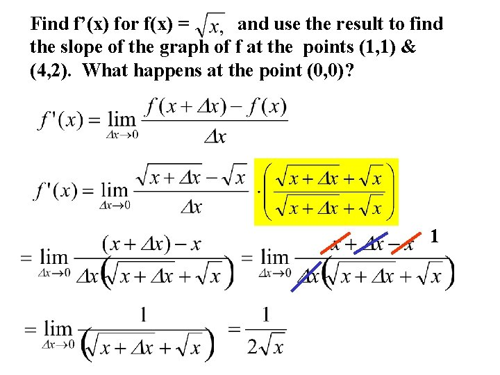 Find f'(x) for f(x) = and use the result to find the slope of