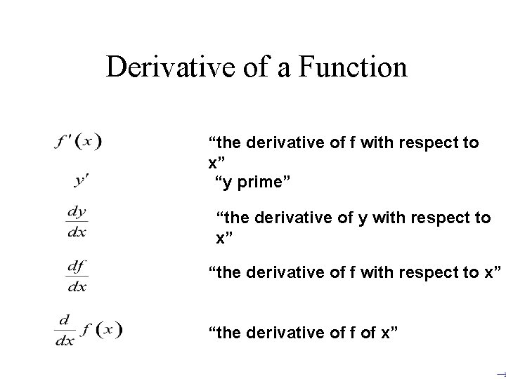 """Derivative of a Function """"the derivative of f with respect to x"""" """"y"""
