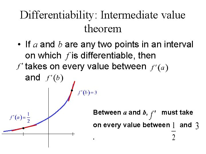 Differentiability: Intermediate value theorem • If a and b are any two points in