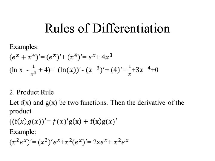 Rules of Differentiation •