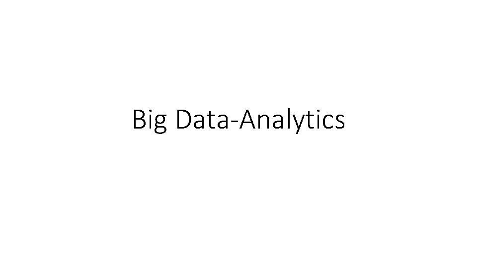 Big Data-Analytics