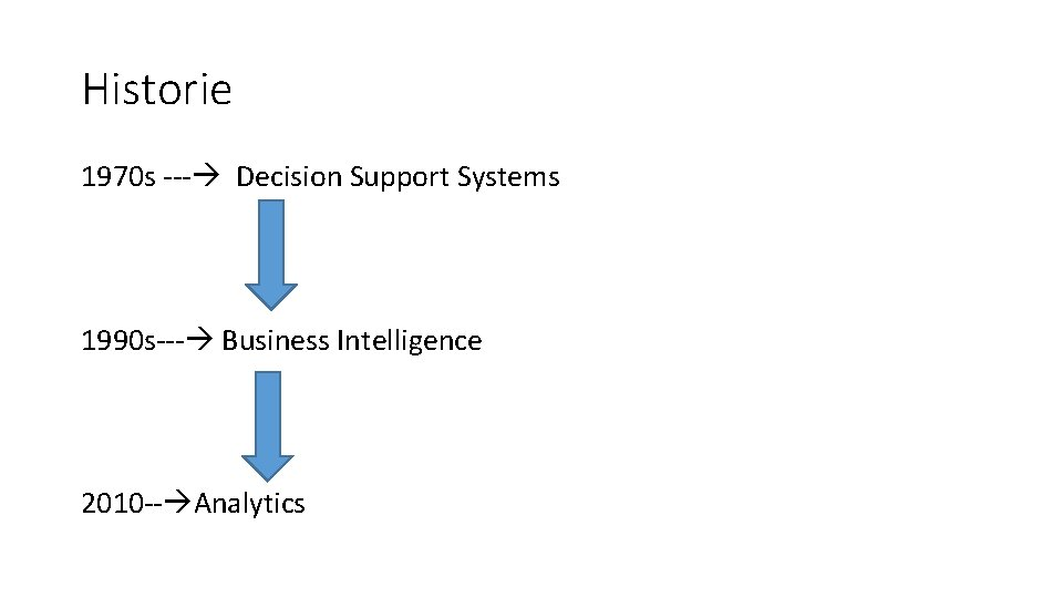 Historie 1970 s --- Decision Support Systems 1990 s--- Business Intelligence 2010 -- Analytics