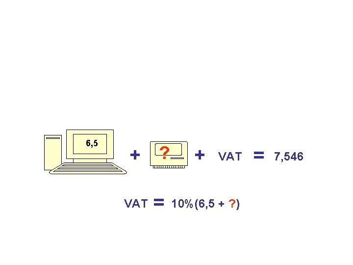 6, 5 + ? VAT = + VAT 10%(6, 5 + ? ) =
