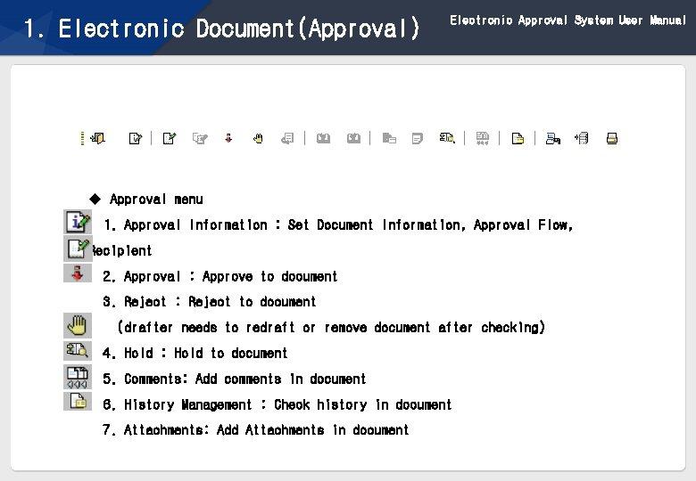 1. Electronic Document(Approval) Electronic Approval System User Manual u Approval menu 1. Approval Information