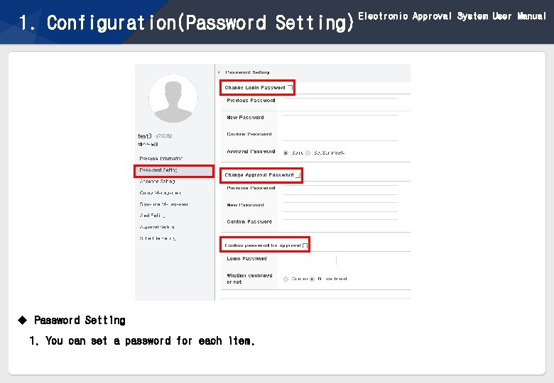 1. Configuration(Password Setting) u Password Setting 1. You can set a password for each