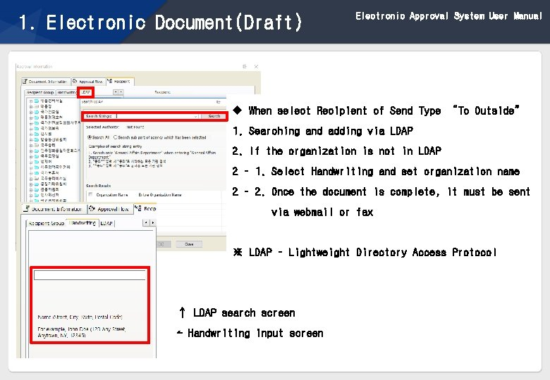 1. Electronic Document(Draft) Electronic Approval System User Manual u When select Recipient of Send