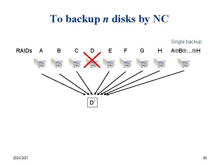 To backup n disks by NC Single backup RAIDs A B C D E