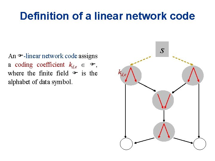 Definition of a linear network code An F-linear network code assigns a coding coefficient