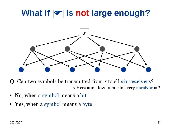 What if  F  is not large enough? s Q. Can two symbols be transmitted