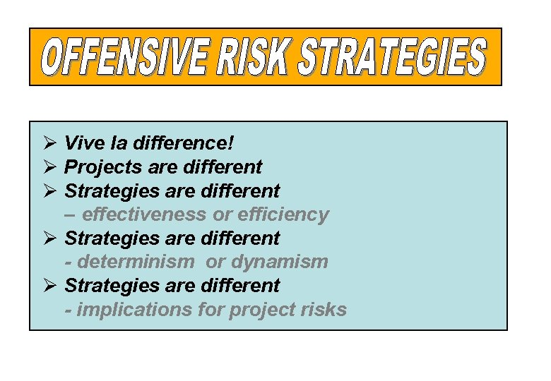Ø Vive la difference! Ø Projects are different Ø Strategies are different – effectiveness