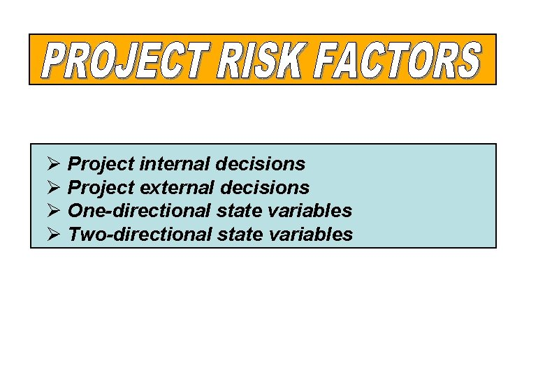 Ø Project internal decisions Ø Project external decisions Ø One-directional state variables Ø Two-directional