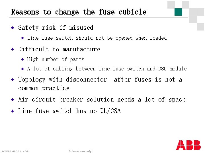 Reasons to change the fuse cubicle Safety risk if misused Line fuse switch should