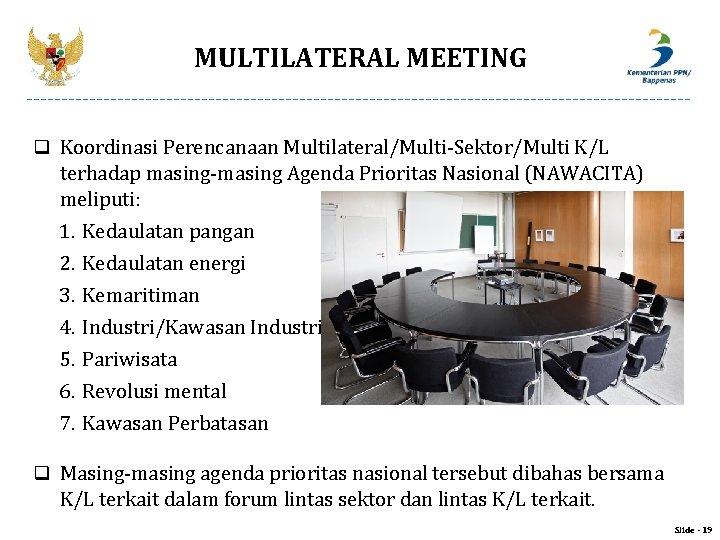 MULTILATERAL MEETING q Koordinasi Perencanaan Multilateral/Multi-Sektor/Multi K/L terhadap masing-masing Agenda Prioritas Nasional (NAWACITA) meliputi: