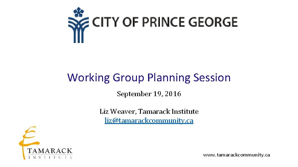 Working Group Planning Session September 19, 2016 Liz Weaver, Tamarack Institute liz@tamarackcommunity. ca www.