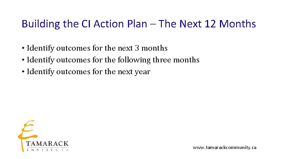 Building the CI Action Plan – The Next 12 Months • Identify outcomes for