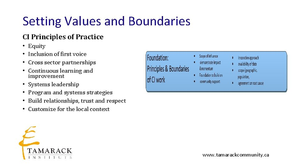 Setting Values and Boundaries CI Principles of Practice • • Equity Inclusion of first