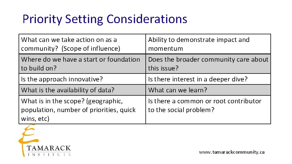 Priority Setting Considerations What can we take action on as a community? (Scope of