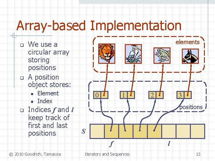 Array-based Implementation q q n n q elements We use a circular array storing