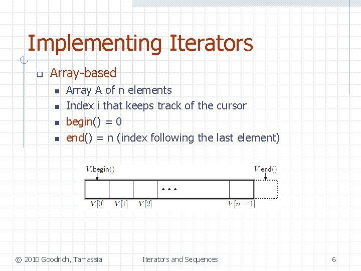 Implementing Iterators q Array-based n n Array A of n elements Index i that