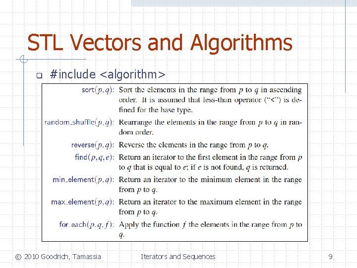 STL Vectors and Algorithms q #include <algorithm> © 2010 Goodrich, Tamassia Iterators and Sequences