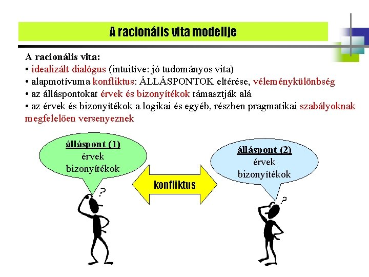 A racionális vita modellje A racionális vita: • idealizált dialógus (intuitíve: jó tudományos vita)