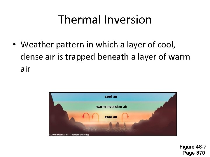 Thermal Inversion • Weather pattern in which a layer of cool, dense air is