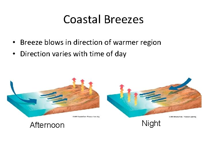Coastal Breezes • Breeze blows in direction of warmer region • Direction varies with