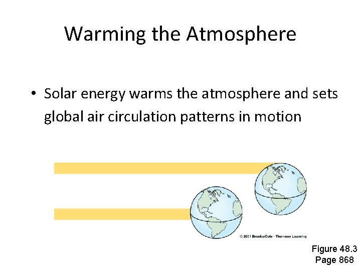 Warming the Atmosphere • Solar energy warms the atmosphere and sets global air circulation