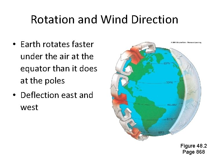 Rotation and Wind Direction • Earth rotates faster under the air at the equator