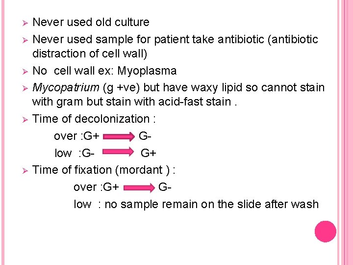 Ø Ø Ø Never used old culture Never used sample for patient take antibiotic