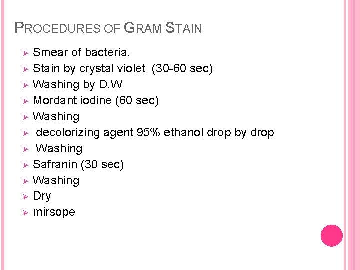 PROCEDURES OF GRAM STAIN Ø Ø Ø Smear of bacteria. Stain by crystal violet