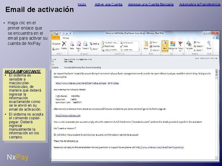 Email de activación • Haga clic en el primer enlace que se encuentra en