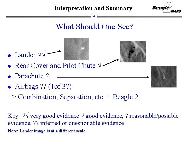 Interpretation and Summary 4 What Should One See? Lander √√ l Rear Cover and