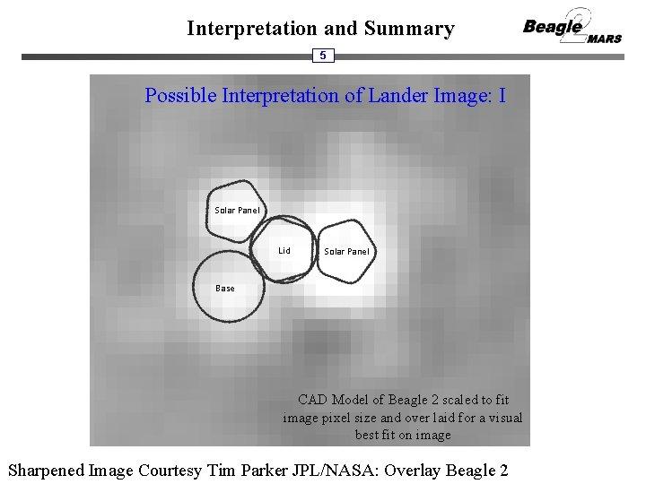 Interpretation and Summary 5 Possible Interpretation of Lander Image: I Solar Panel Lid Solar