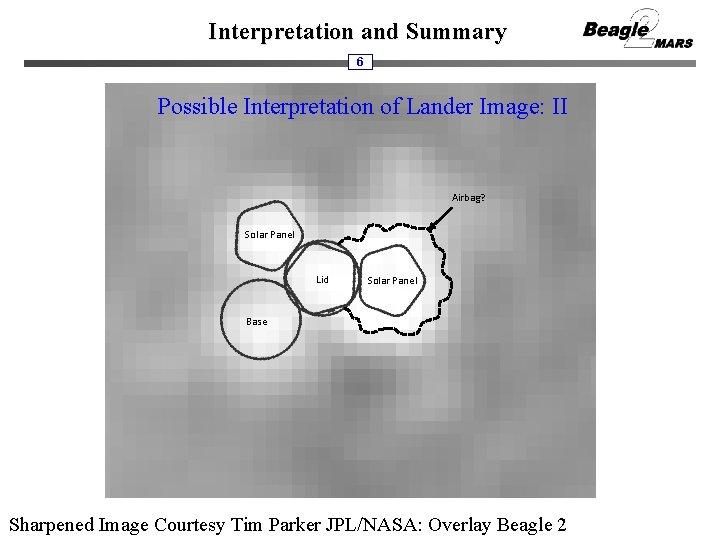 Interpretation and Summary 6 Possible Interpretation of Lander Image: II Airbag? Solar Panel Lid