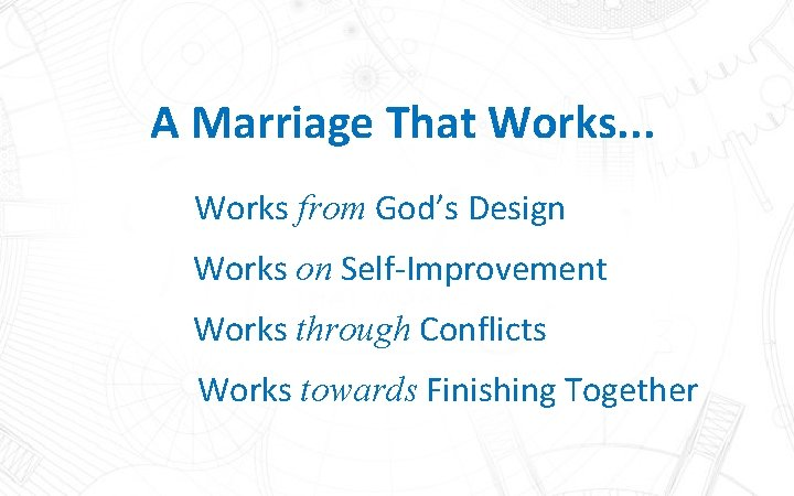 A Marriage That Works. . . Works from God's Design Works on Self-Improvement