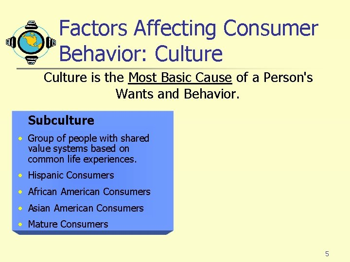 Factors Affecting Consumer Behavior: Culture is the Most Basic Cause of a Person's Wants