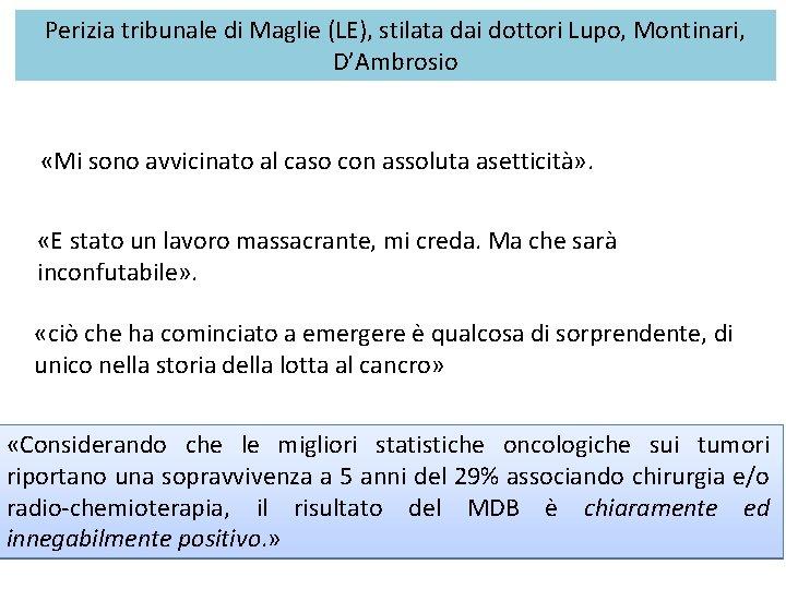 Perizia tribunale di Maglie (LE), stilata dai dottori Lupo, Montinari, D'Ambrosio «Mi sono avvicinato