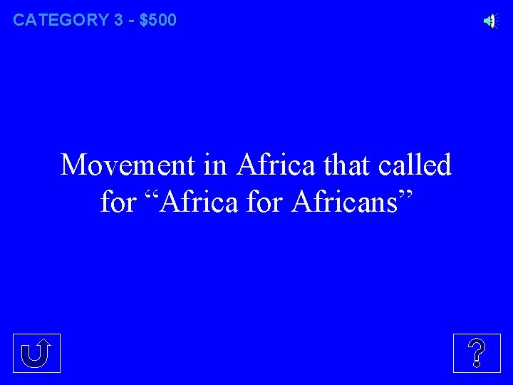 """CATEGORY 3 - $500 Movement in Africa that called for """"Africa for Africans"""""""