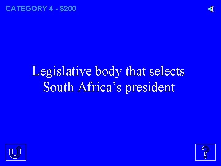 CATEGORY 4 - $200 Legislative body that selects South Africa's president