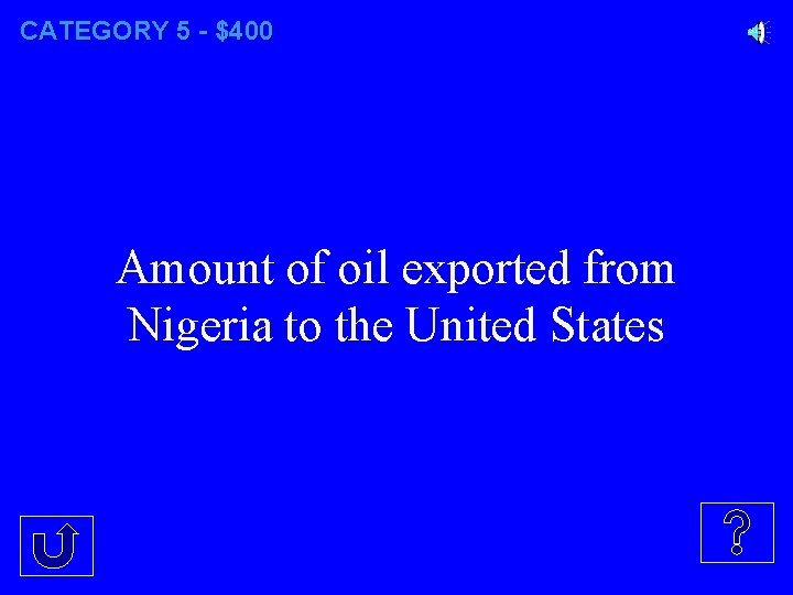 CATEGORY 5 - $400 Amount of oil exported from Nigeria to the United States