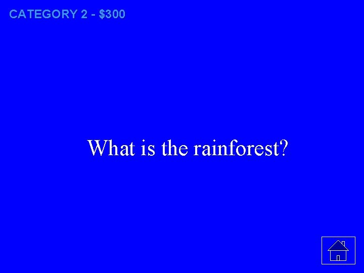 CATEGORY 2 - $300 What is the rainforest?