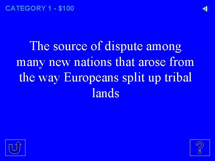 CATEGORY 1 - $100 The source of dispute among many new nations that arose