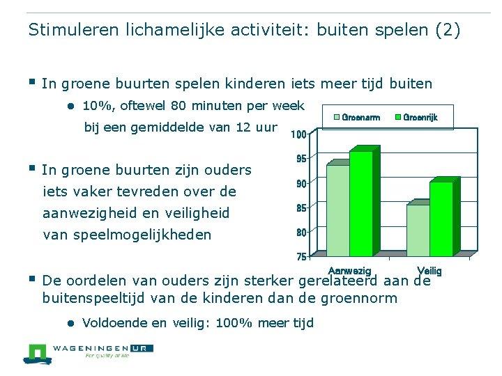 Stimuleren lichamelijke activiteit: buiten spelen (2) § In groene buurten spelen kinderen iets meer
