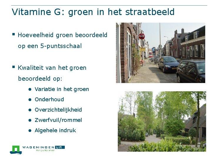 Vitamine G: groen in het straatbeeld § Hoeveelheid groen beoordeeld op een 5 -puntsschaal