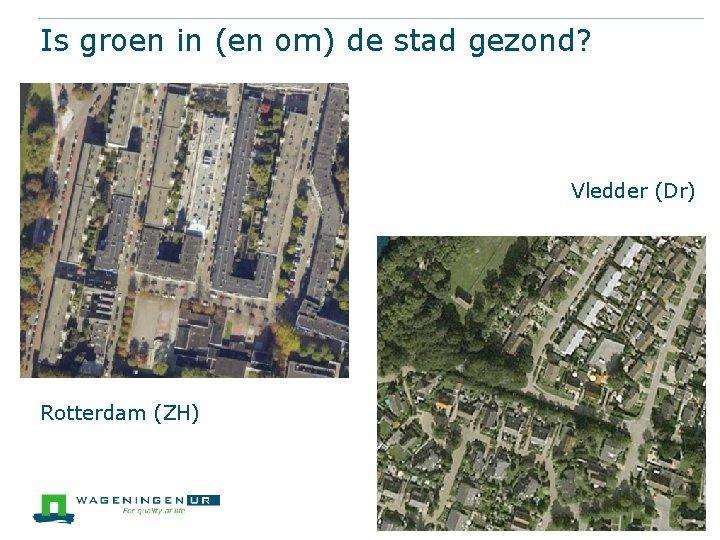 Is groen in (en om) de stad gezond? • Rotterdam (ZH) Vledder (Dr)