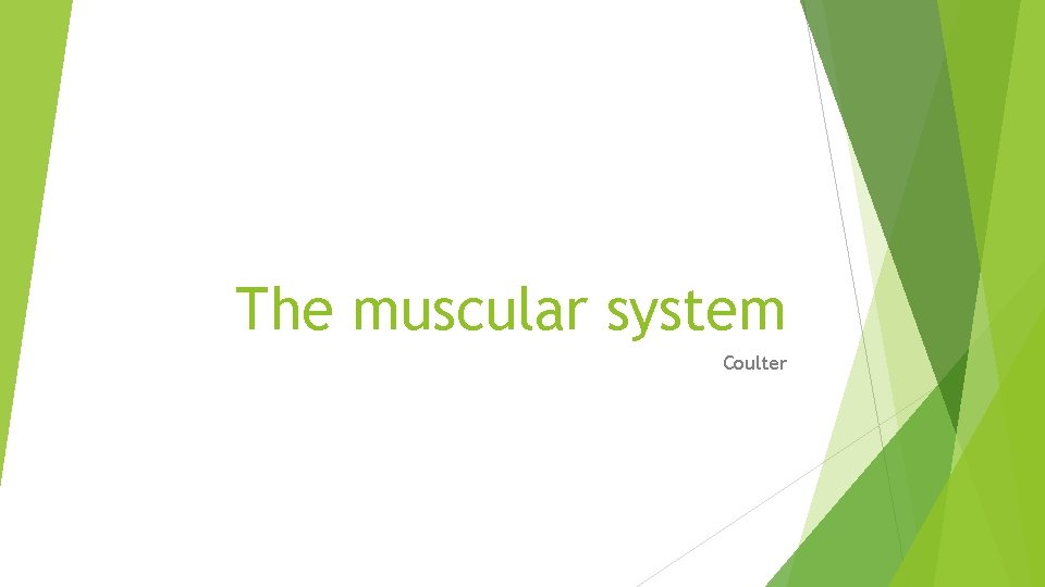 The muscular system Coulter