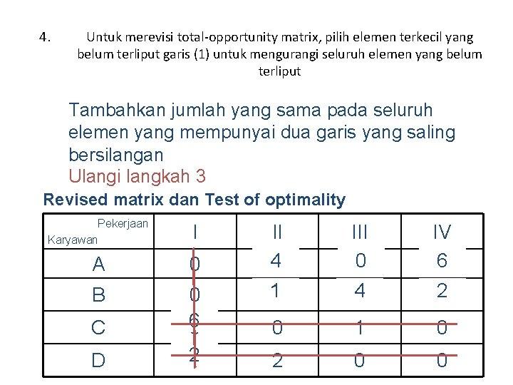 4. Untuk merevisi total-opportunity matrix, pilih elemen terkecil yang belum terliput garis (1) untuk